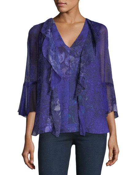 Adalyn 3/4-Sleeve Floral Blouse