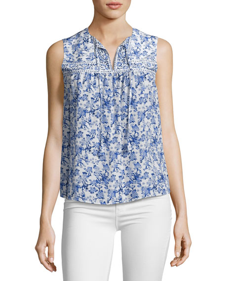 Aimee Floral Silk Top, Multi
