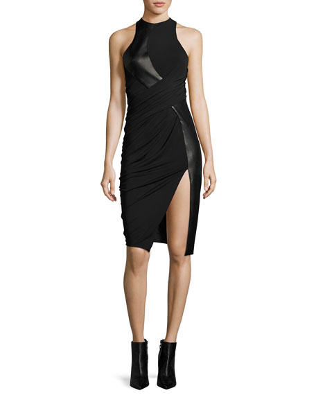 Leather & Jersey Sleeveless Draped Cocktail Dress, Black