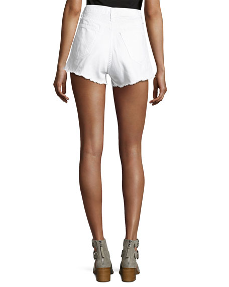 Justine High-Rise Cutoff Jean Shorts, White