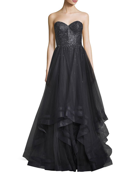 La Femme Strapless Sweetheart Tulle Ball Gown, Gray