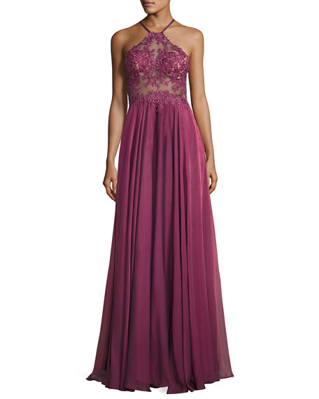 Sleeveless Beaded Georgette Gown, Boysenberry