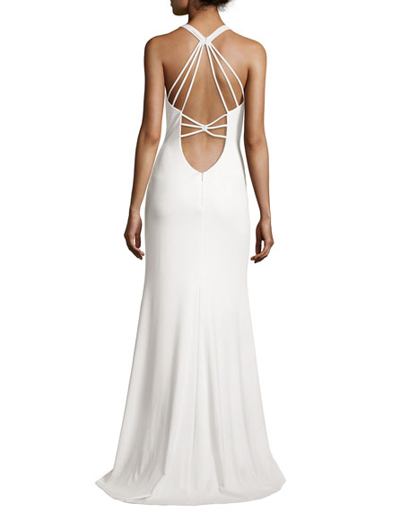Sleeveless Strappy Crepe Gown, Ivory