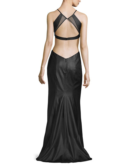 Sleeveless Cutout Faux-Leather Gown, Black