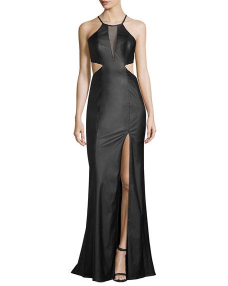 La Femme Sleeveless Cutout Faux-Leather Gown, Black