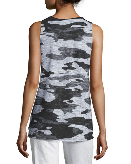 Heathered Camo-Printed Muscle Tank, Gray/Black
