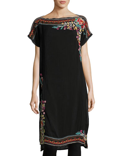 Janice Embroidered Long Tunic, Plus Size