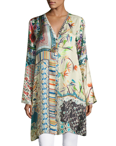 Johnny Was Silverette Long Silk Button-Front Cardigan, Plus