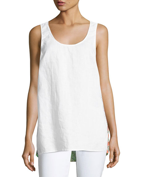 Patchwork-Back Linen Tank, Plus Size