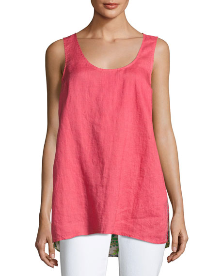 Johnny Was Patchwork-Back Linen Tank, Plus Size