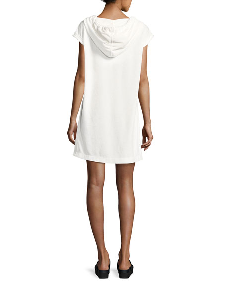 French Terry Hooded Sweatshirt Dress, White