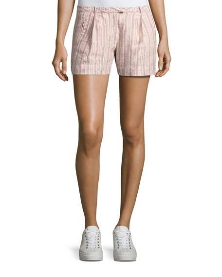 ATM Anthony Thomas Melillo Striped Pleated Linen Shorts,
