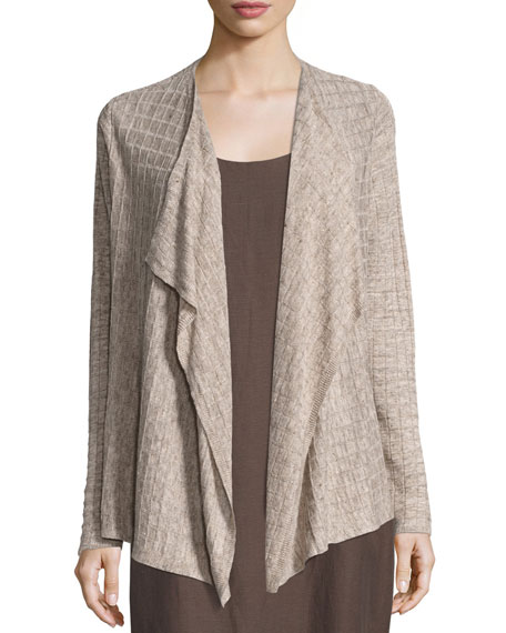 Eileen Fisher Lightweight Linen Melange Cardigan, Natural and
