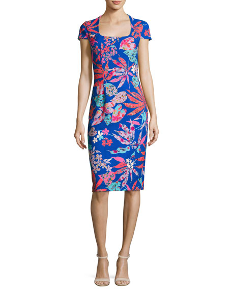 David Meister Cap-Sleeve Floral Ponte Sheath Dress,