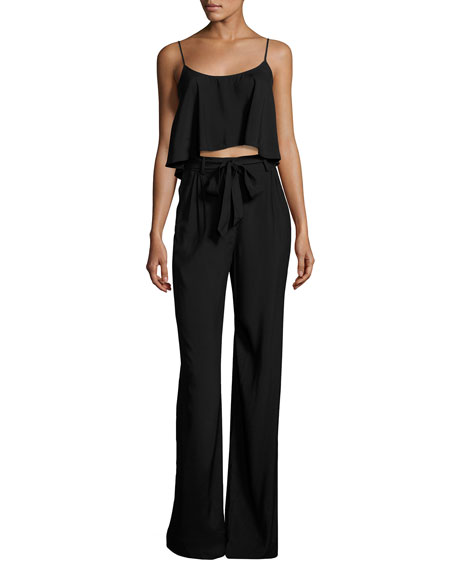 Black Halo Sleeveless Belted Jersey Popover Jumpsuit, Black
