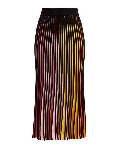 Pleated Jersey Midi Skirt, Multicolor