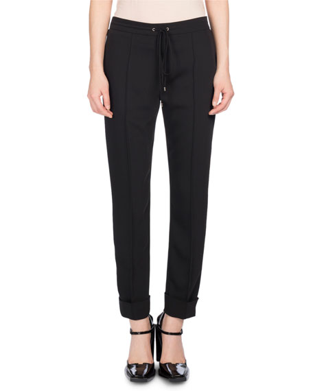 Tailored Drawstring Jogger Pants, Black