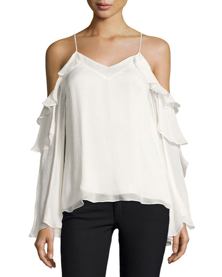 Haute Hippie Starshine Silk Cold-Shoulder Blouse, White