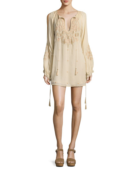Haute Hippie Penny Embroidered Silk Mini Dress, White