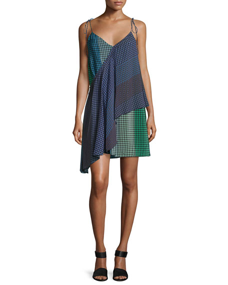 Opening Ceremony Foulard Printed Silk Wrap Dress, Green/Blue