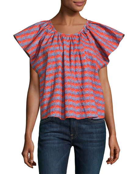 Opening Ceremony Printed Flutter Sleeve Cotton Top, Multi