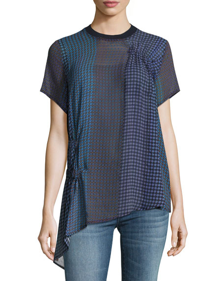 Foulard Short-Sleeve Silk Tunic Top, Multi