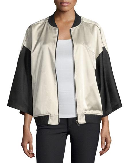 Reversible Kimono Silk Bomber Jacket