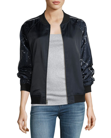 Reversible Night Sky Silk Bomber Jacket
