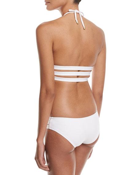 Amelia Triple-Strap Solid Swim Bikini Bottom, White