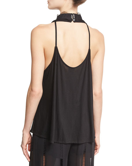 Fool For You Choker-Collar Tank, Black