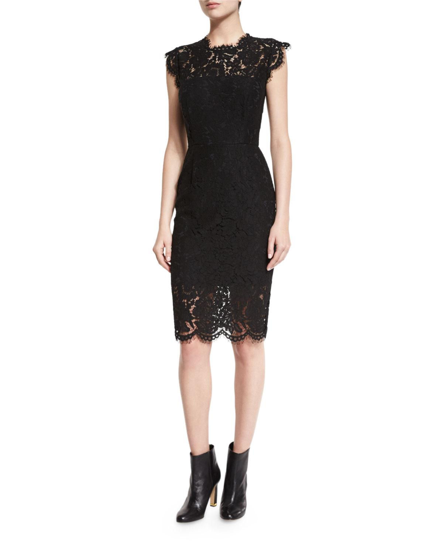 Suzette Fl Lace Sheath Dress Black