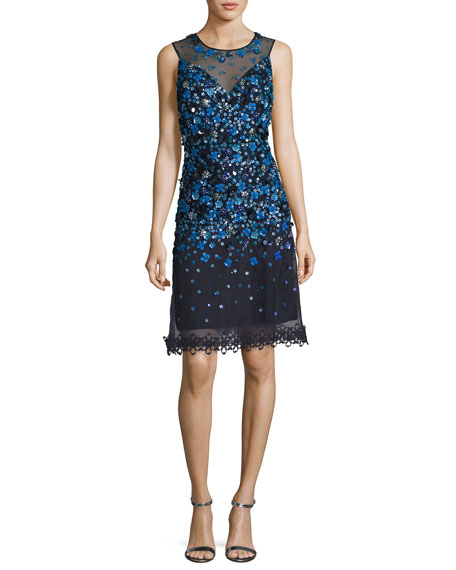 Elie Tahari Justina Sleeveless Sequined Mesh Cocktail Dress,