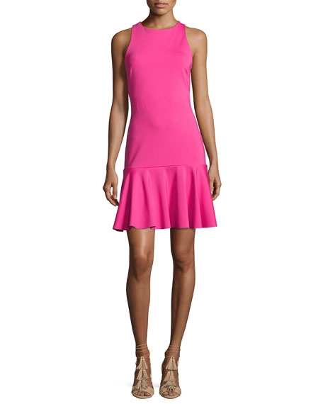 Trina Turk Fantastic Sleeveless Ponte Flounce Dress, Brilliant Fuchsia
