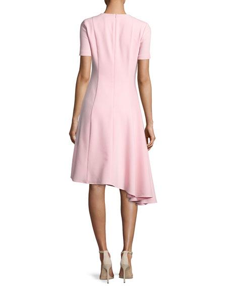 Olcay Short-Sleeve Asymmetric Ponte Dress, Pink