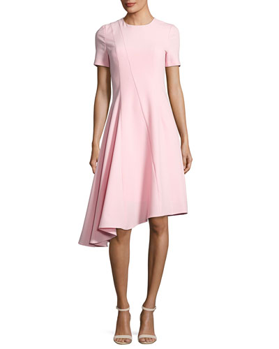 Olcay Short-Sleeve Asymmetric Ponte Dress, Pink