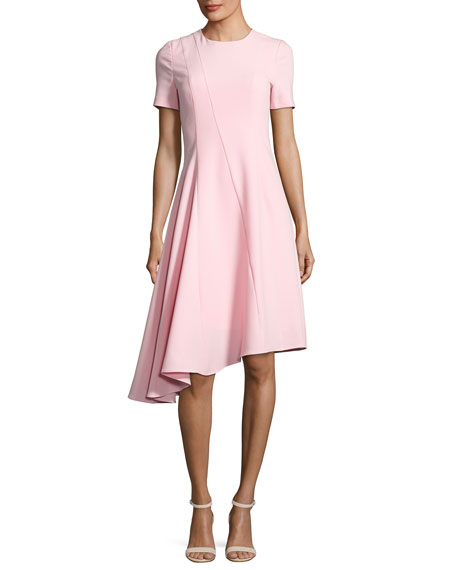 Black Halo Olcay Short-Sleeve Asymmetric Ponte Dress, Pink