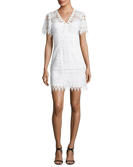 Nanette Lepore Dandelion Short-Sleeve Lace Shift Dress, White