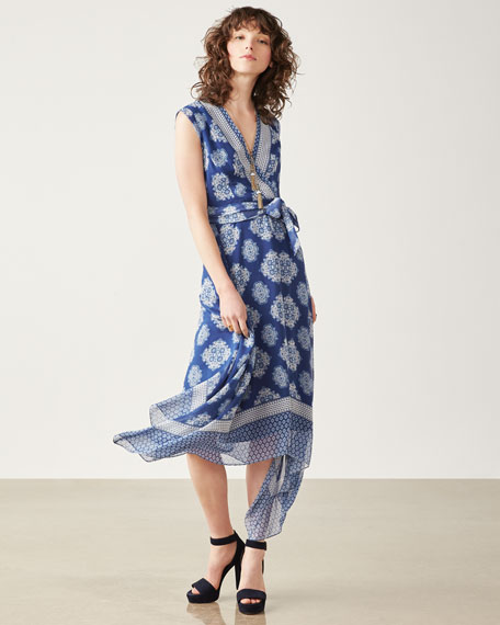 Catrina Sleeveless Printed Silk Wrap Dress, Blue