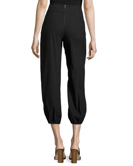 Braxton Tie-Waist Back-Zip Pants, Black