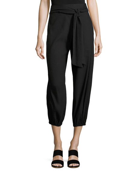 Braxton Tie-Waist Back-Zip Pants, Black