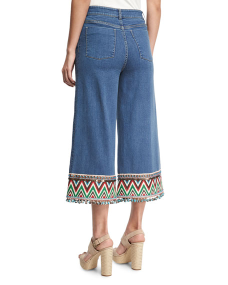 ALICE AND OLIVIA ALICE + OLIVIA BETA EMBROIDERED-HEM CROPPED JEANS IN VINTAGE WASH, VINTAGE WASH/MULTI