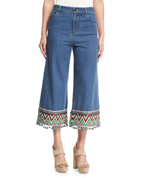 Alice + Olivia Beta Embroidered Pom-Pom Hem Cropped
