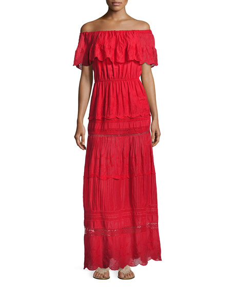 Alice + Olivia Pansy Embroidered Off-the-Shoulder Boho Maxi