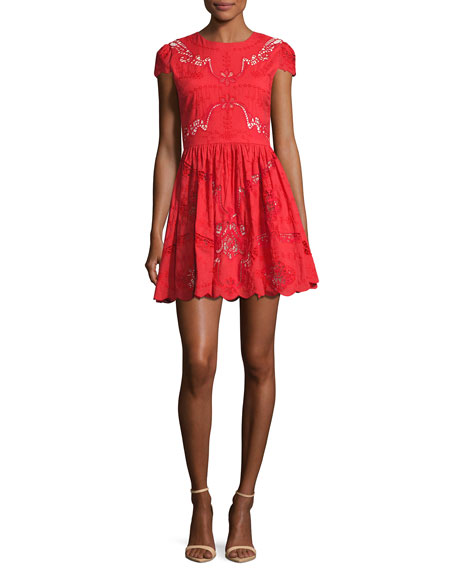 Alice + Olivia Karen Embroidered Party Dress, Bright
