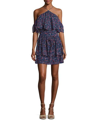 Darya Floral-Print Silk Mini Dress, Indigo