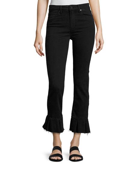 PAIGE Rafaela Q Flared Raw-Hem Jeans, Black