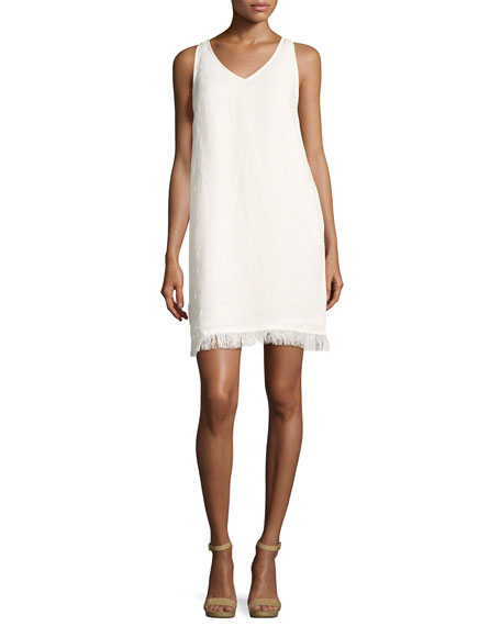 Oekel Linen Drape Dress, White