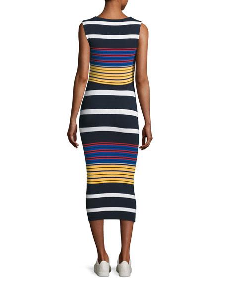 Multi-Stripe Body-Con Sleeveless Dress, Multicolor