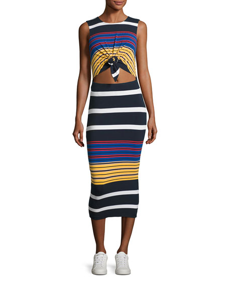 Kendall + Kylie Multi-Stripe Body-Con Sleeveless Dress,