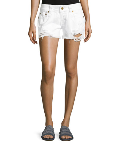 Keira Low-Rise Cutoff Shorts, White